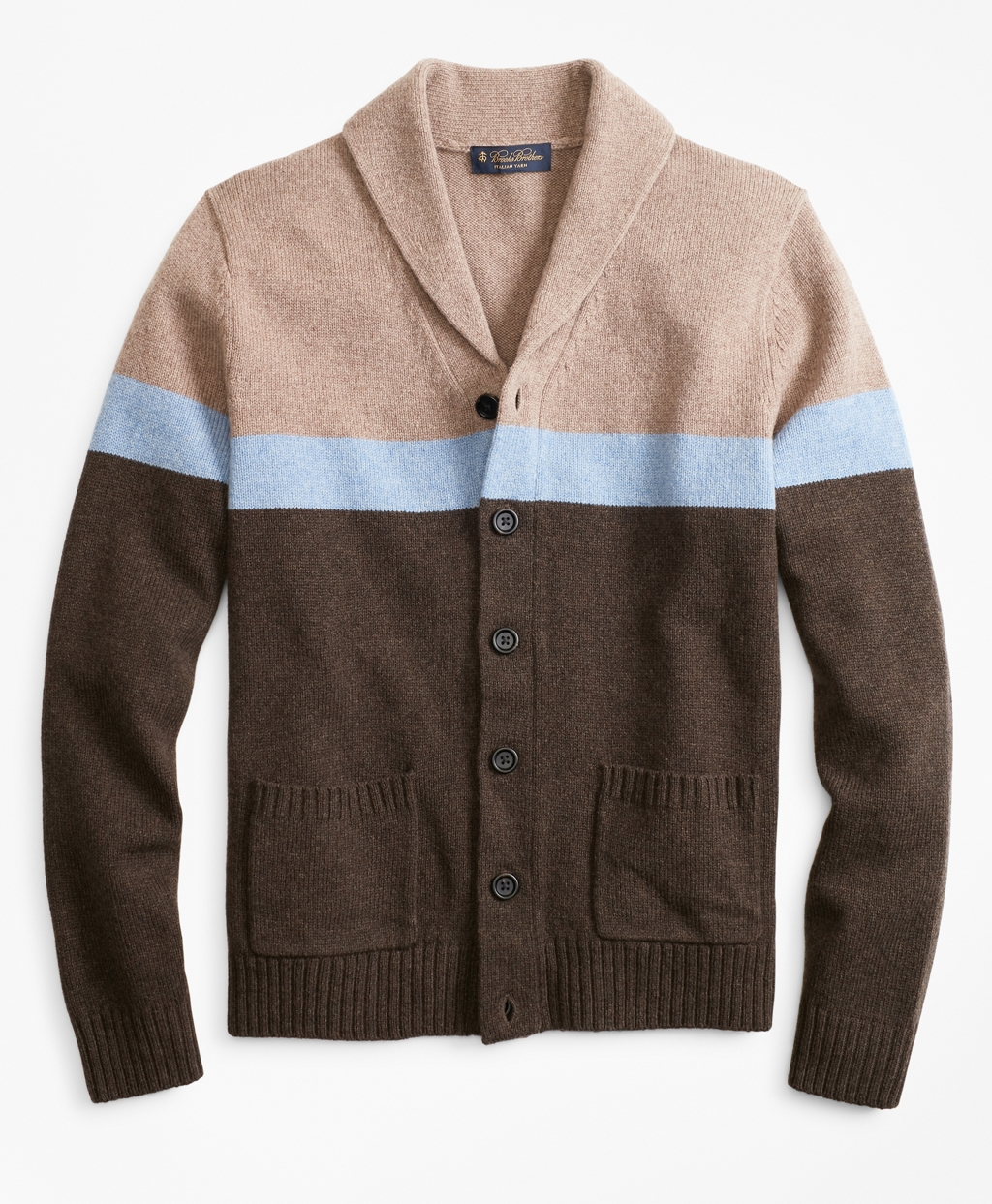 60s 70s Men's Jackets & Sweaters Brooks Brothers Mens Merino Wool Color-Block Shawl Collar Cardigan $198.00 AT vintagedancer.com
