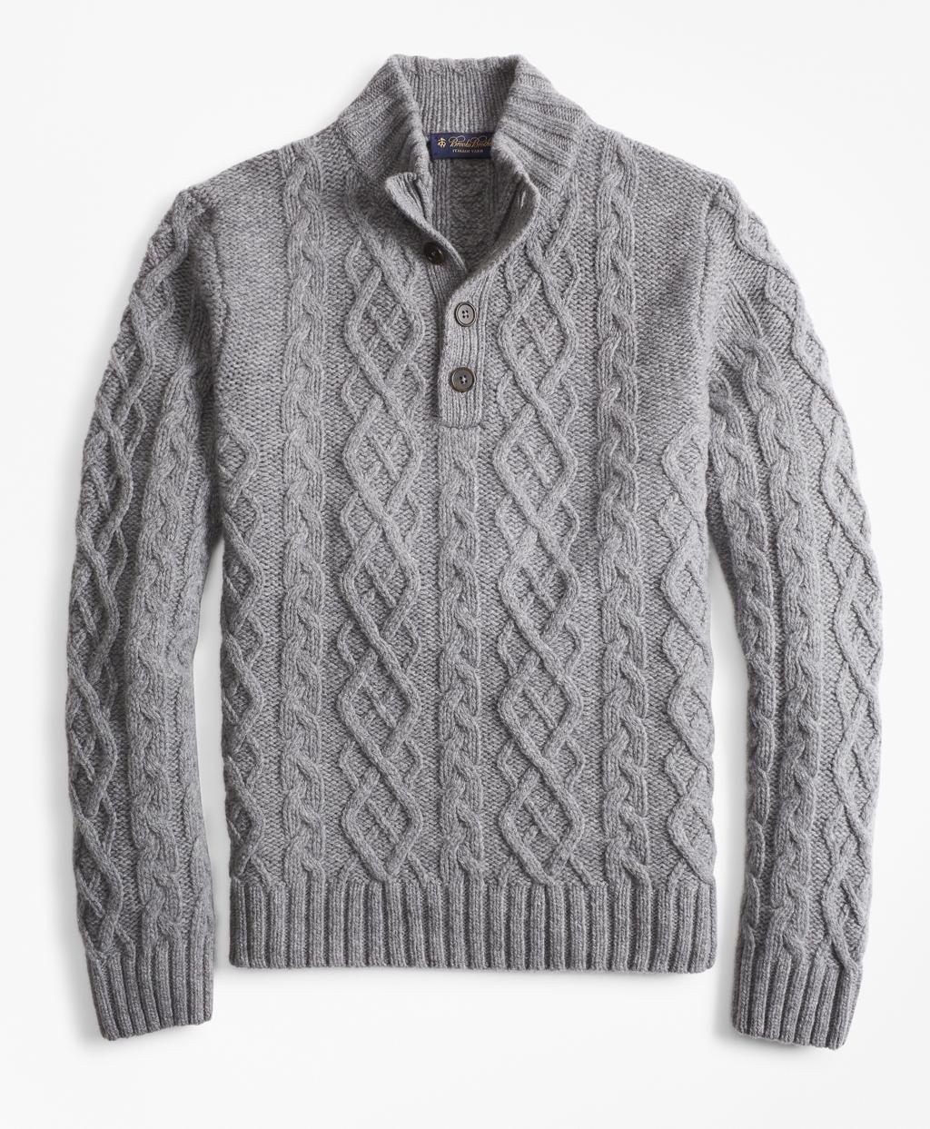 Men's Vintage Sweaters – 1920s to 1960s Retro Jumpers Brooks Brothers Mens Cable Mockneck Sweater $348.00 AT vintagedancer.com