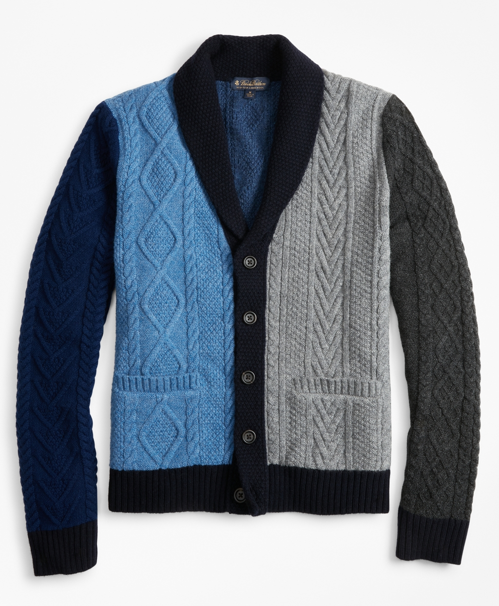 Men's Vintage Sweaters – 1920s to 1960s Retro Jumpers Brooks Brothers Mens Color-Block Cable Cardigan $298.00 AT vintagedancer.com