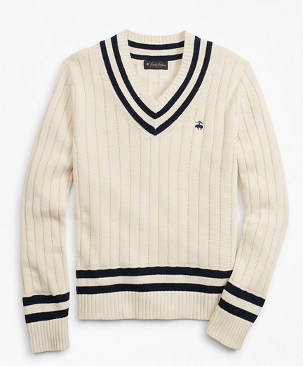 Men's Vintage Sweaters – 1920s to 1960s Retro Jumpers Tennis V-Neck Sweater $98.50 AT vintagedancer.com