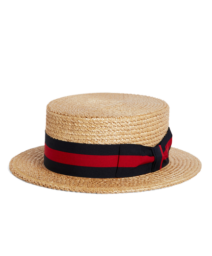 New Edwardian Style Men's Hats 1900-1920 The Great Gatsby Collection Straw Boater Hat with Red and Navy Striped Ribbon $99.00 AT vintagedancer.com