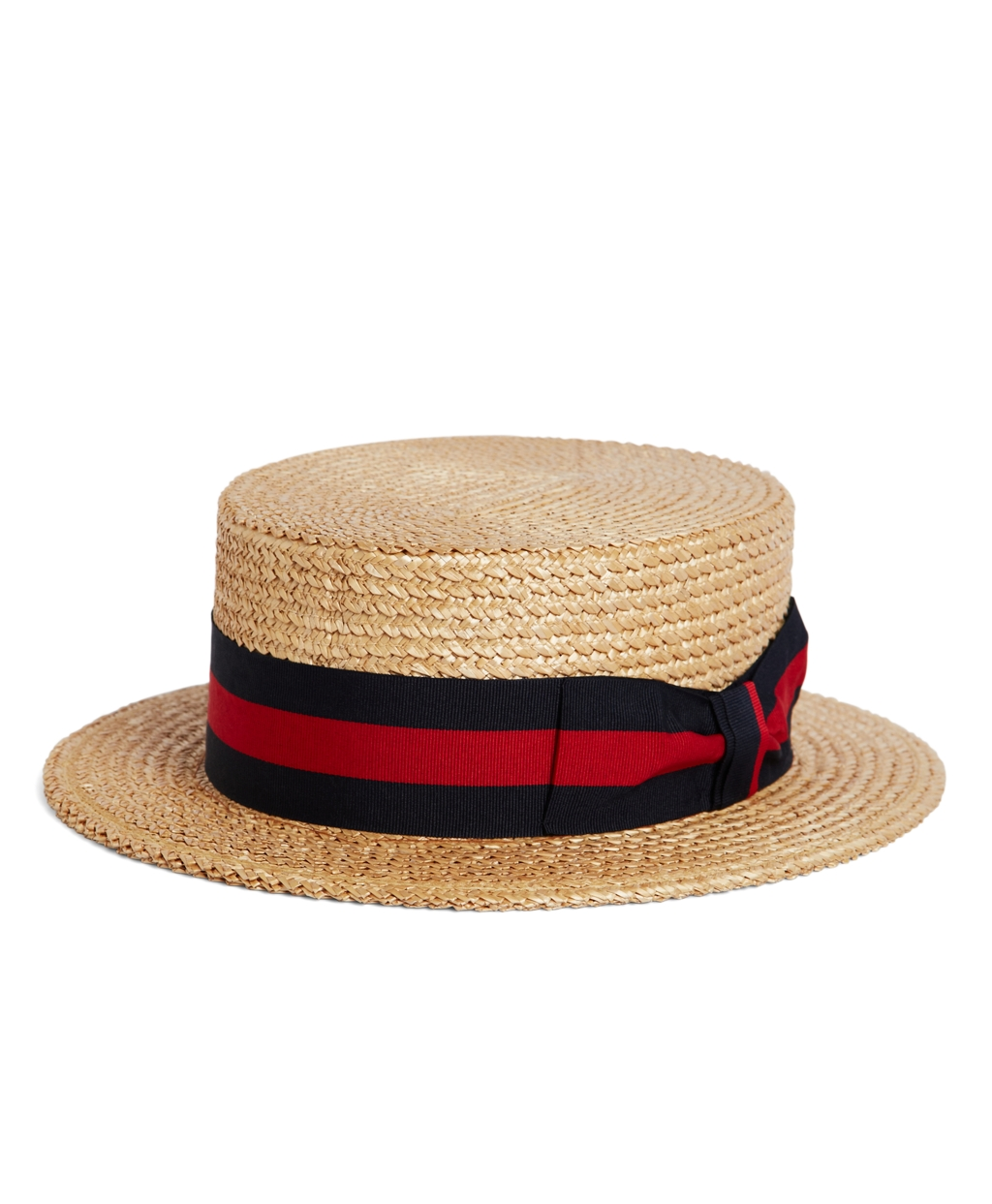 1920s Mens Hats & Caps   Gatsby, Peaky Blinders, Gangster Brooks Brothers Mens The Great Gatsby Collection Straw Boater Hat With Red And Navy Striped Ribbon $198.00 AT vintagedancer.com