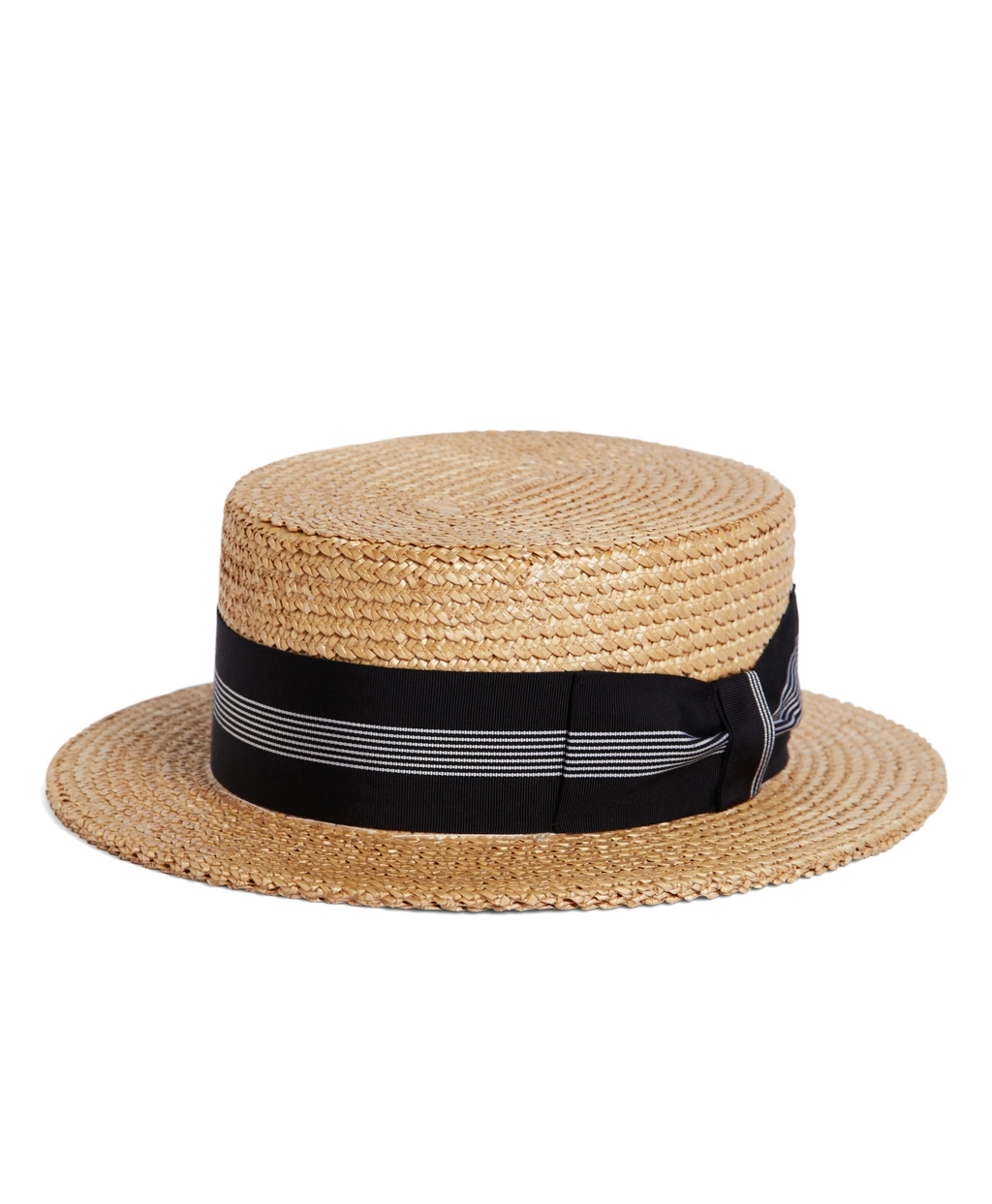 New Edwardian Style Men's Hats 1900-1920 Brooks Brothers Mens The Great Gatsby Collection Straw Boater Hat With Navy And White Striped Ribbon $198.00 AT vintagedancer.com