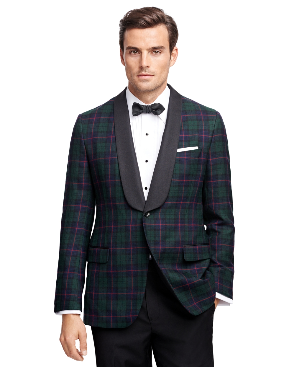 New Vintage Tuxedos, Tailcoats, Morning Suits, Dinner Jackets Brooks Brothers Mens Fitzgerald Fit Tartan Tuxedo Jacket $598.00 AT vintagedancer.com