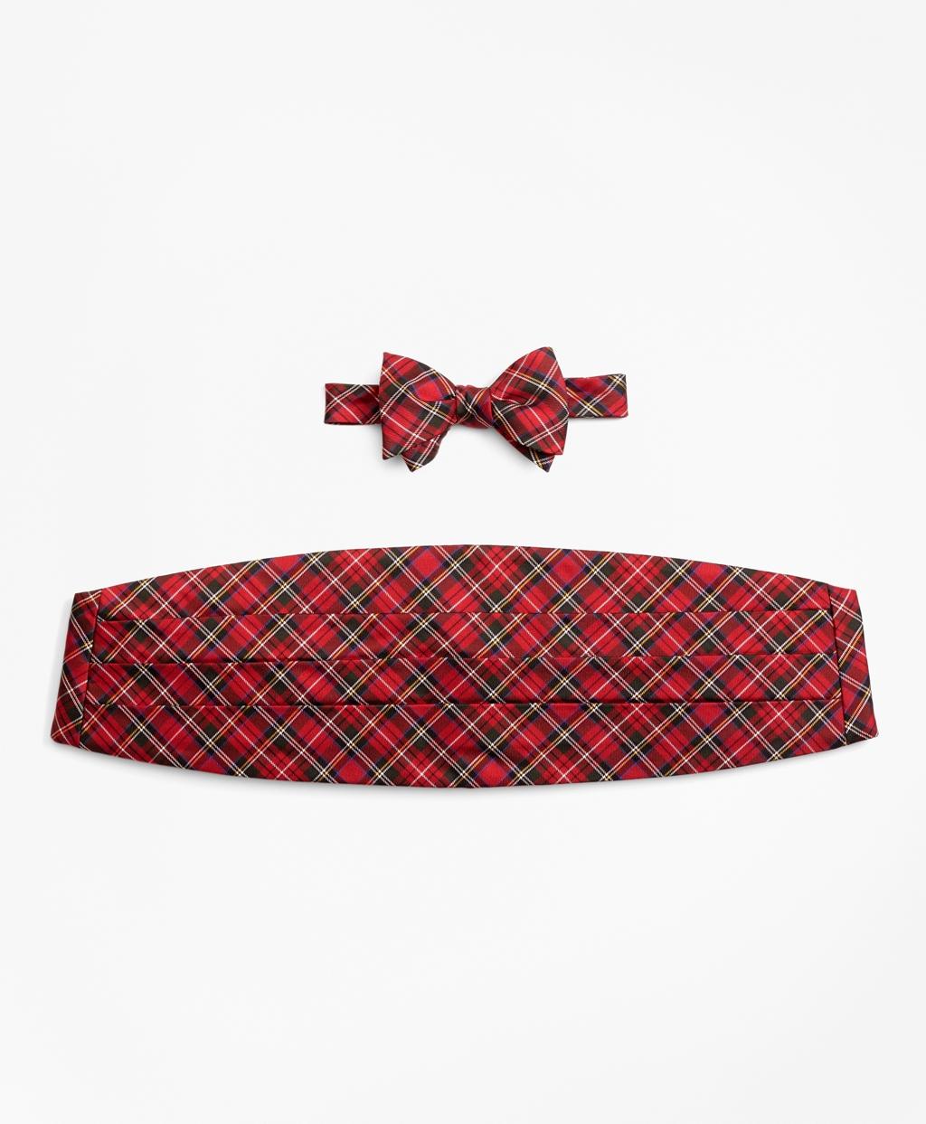Men's Vintage Style Clothing Brooks Brothers Mens Stewart Tartan Bow Tie And Cummerbund Set $150.00 AT vintagedancer.com