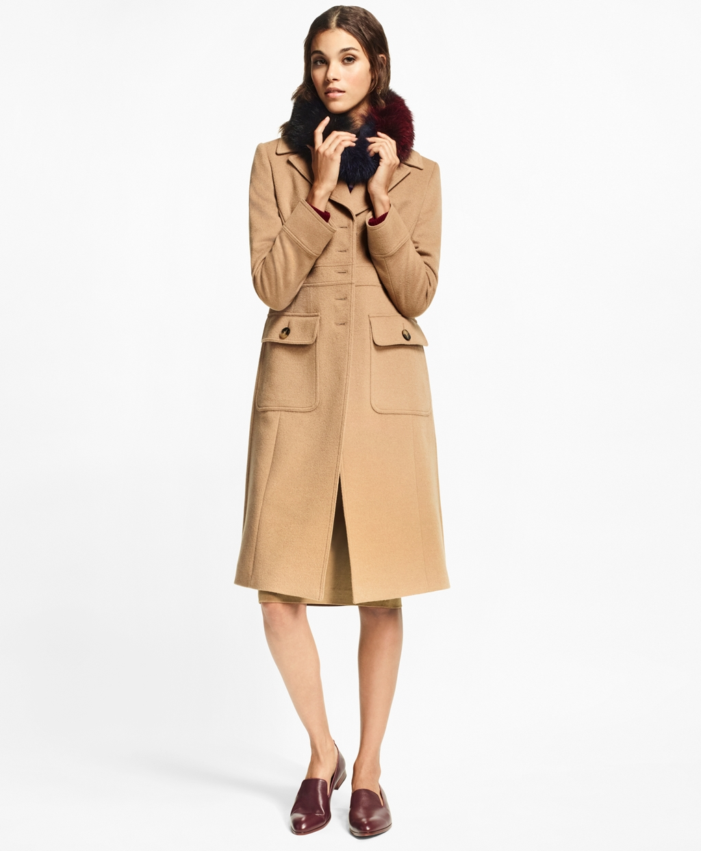 1920s Coats, Flapper Coats, 20s Jackets Brooks Brothers Womens Petite Camel Hair Polo Coat $998.00 AT vintagedancer.com