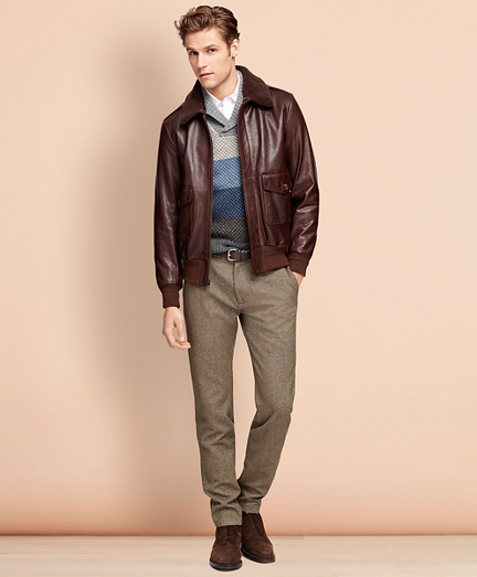 1930s Men's Clothing Leather Bomber Jacket $898.00 AT vintagedancer.com