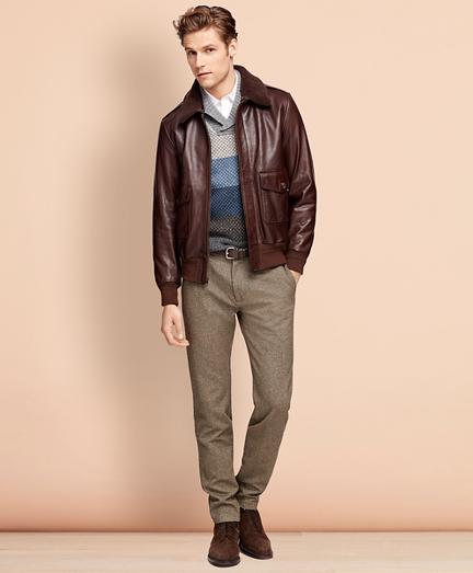 1920s Mens Coats & Jackets History Leather Bomber Jacket $898.00 AT vintagedancer.com