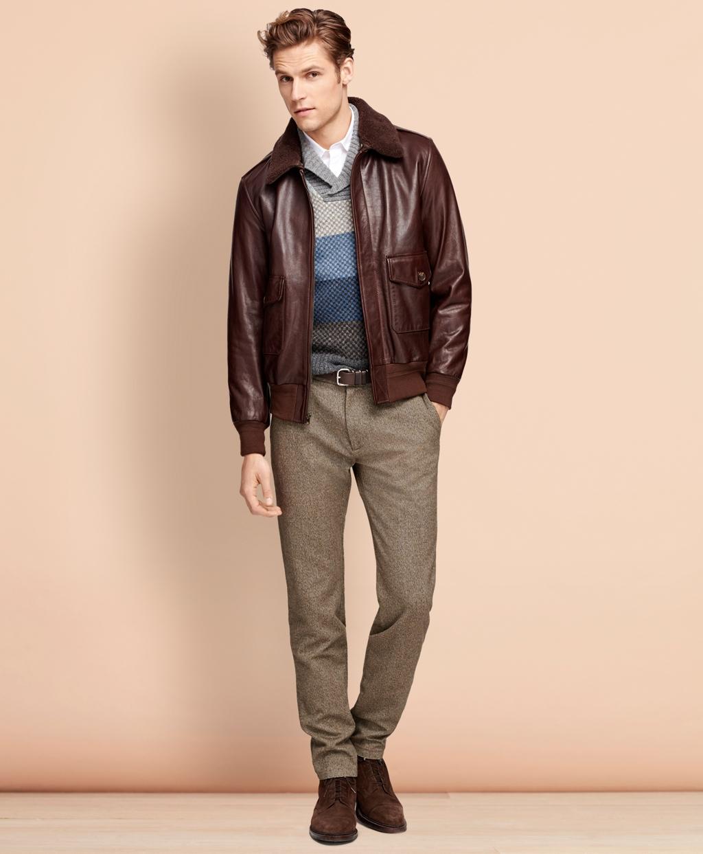 50s Men's Jackets| Greaser Jackets, Leather, Bomber, Gaberdine Brooks Brothers Mens Leather Bomber Jacket $898.00 AT vintagedancer.com