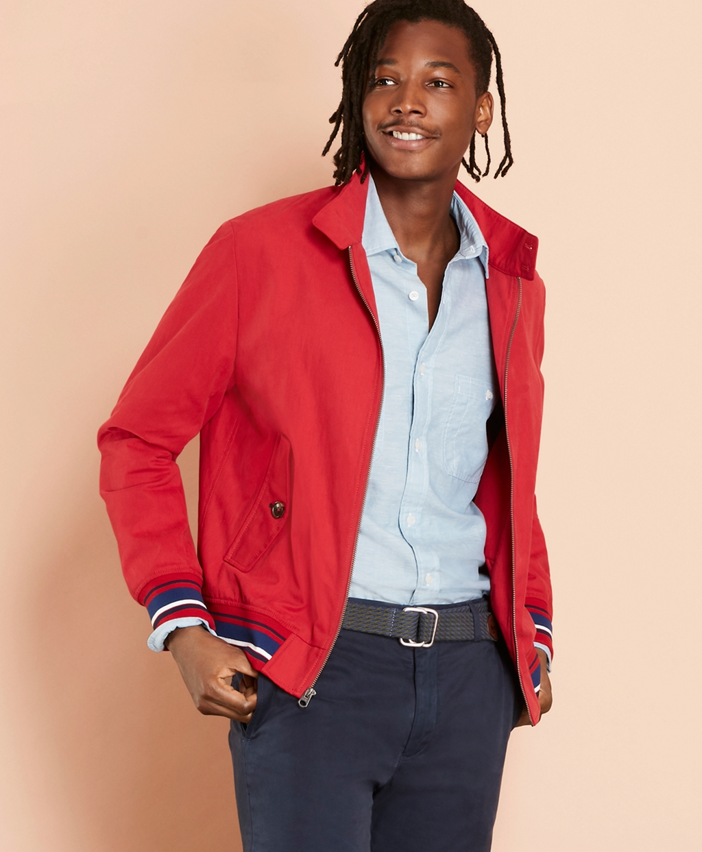 Men's Vintage Style Coats and Jackets Brooks Brothers Mens Water-Resistant Harrington Jacket $148.00 AT vintagedancer.com