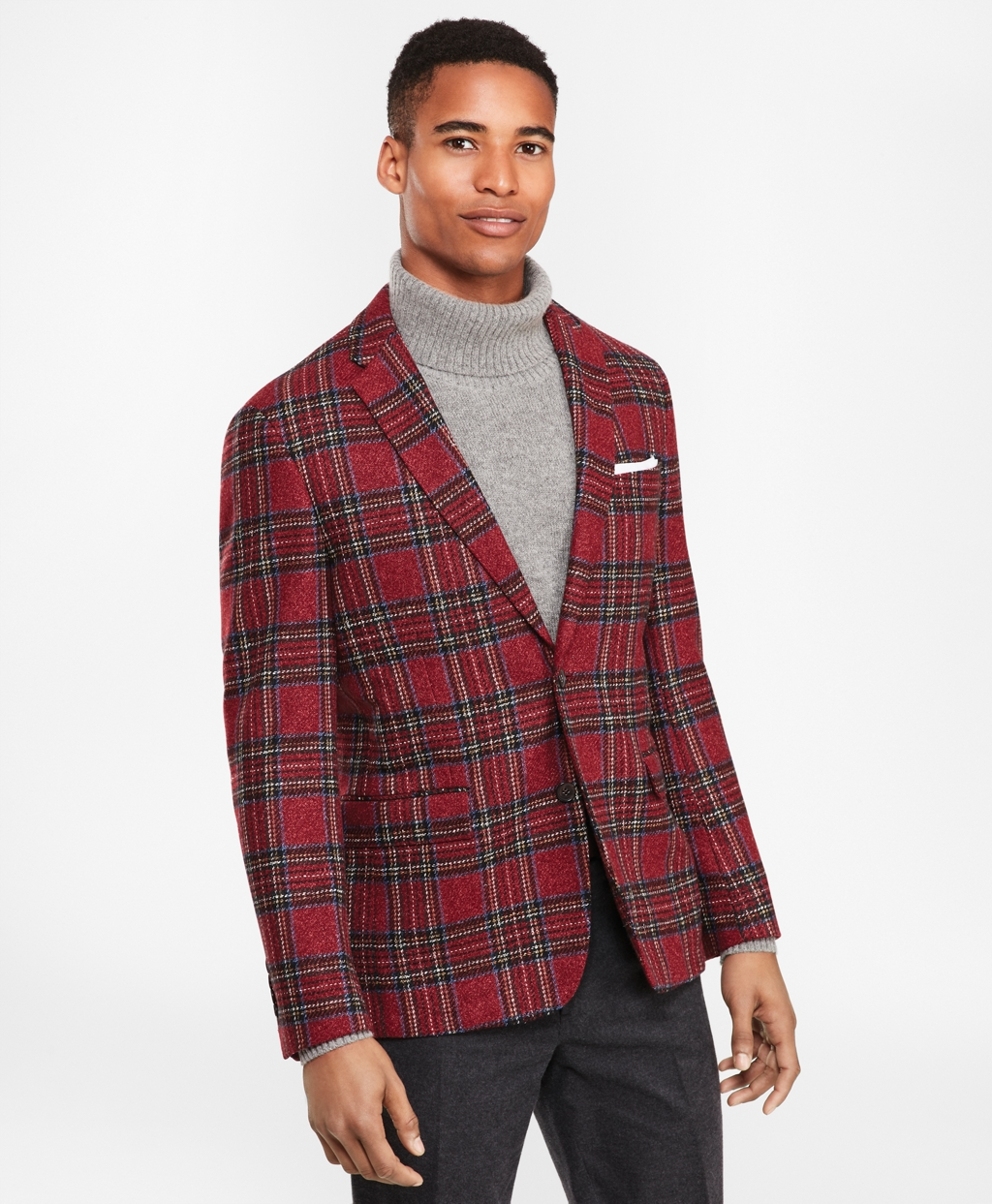 1950s Style Mens Suits | 50s Suits Brooks Brothers Mens Wool-Blend Two-Button Tartan Sport Coat $358.00 AT vintagedancer.com