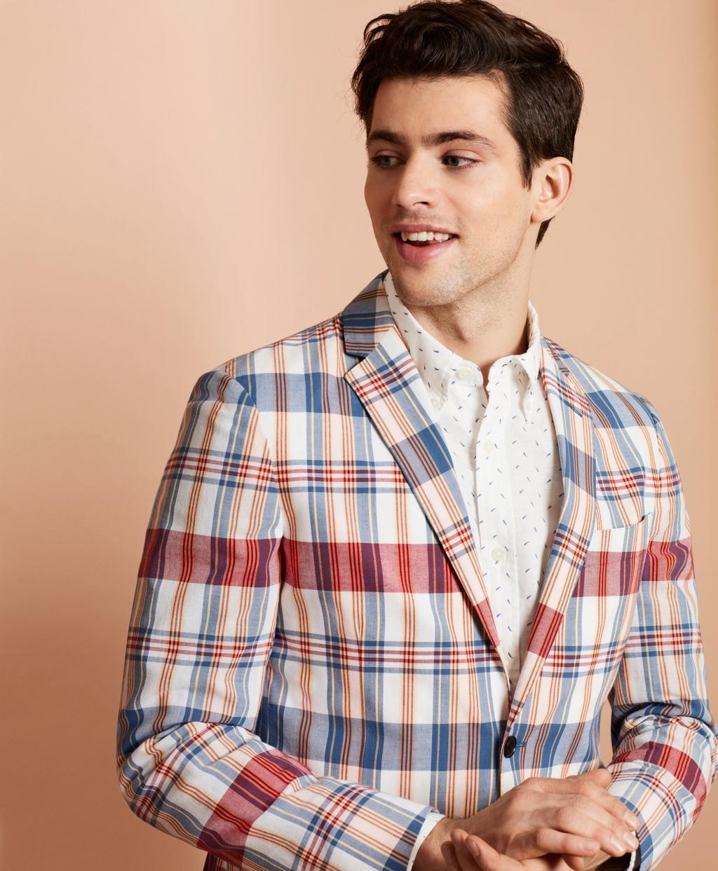 1960s Mens Suits | 70s Mens Disco Suits Brooks Brothers Mens Madras Cotton Two-Button Sport Coat $198.00 AT vintagedancer.com
