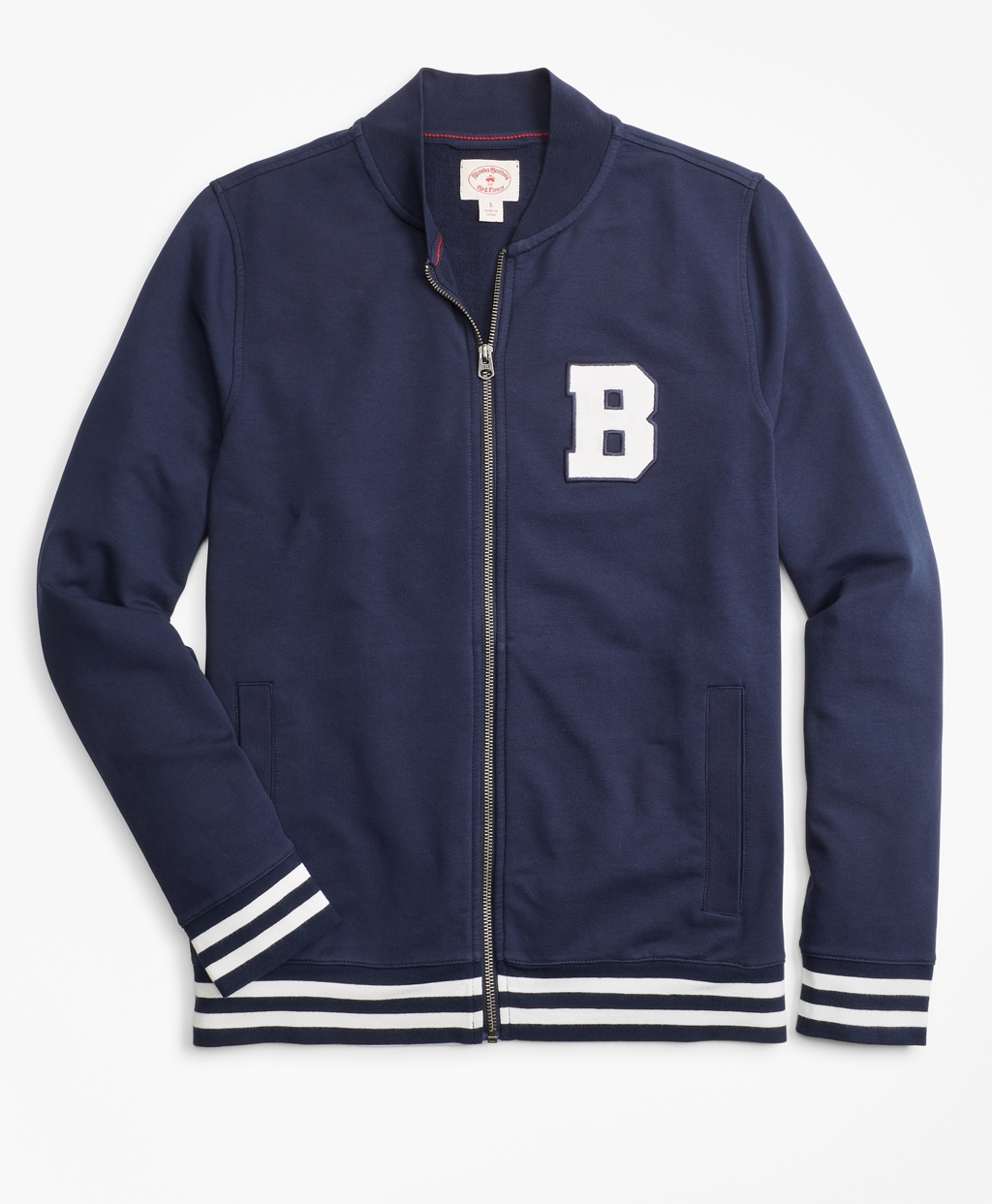 Men's Vintage Style Coats and Jackets Brooks Brothers Mens French Terry Letterman Lightweight Baseball Jacket $79.50 AT vintagedancer.com