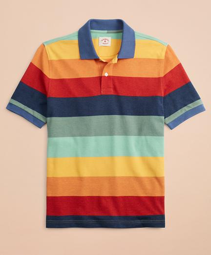 1960s – 70s Mens Shirts- Disco Shirts, Hippie Shirts Gradient-Stripe Pique Polo Shirt $49.50 AT vintagedancer.com