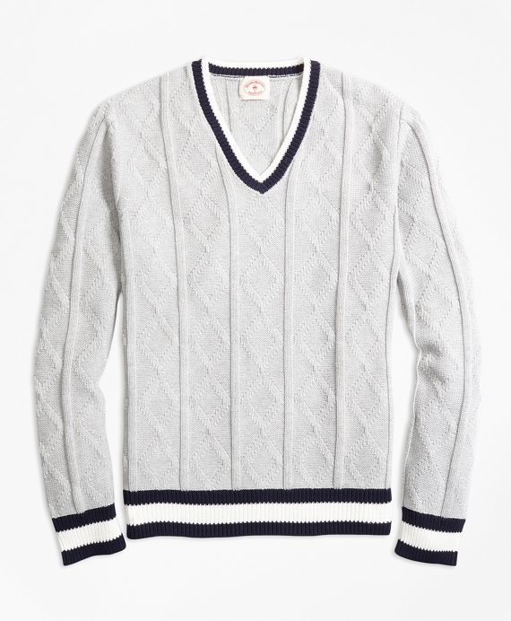 Edwardian Men's Shirts & Sweaters Cotton Tennis Sweater $69.50 AT vintagedancer.com