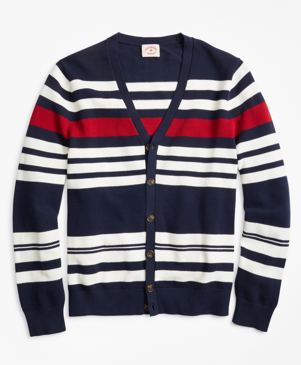 Men's Vintage Sweaters – 1920s to 1960s Retro Jumpers Brooks Brothers Mens Striped Pique Cardigan $69.50 AT vintagedancer.com