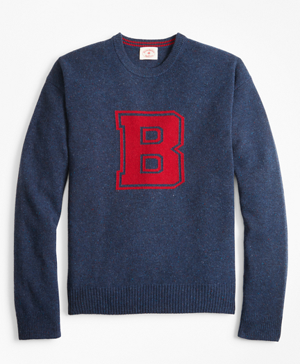 Men's Vintage Sweaters – 1920s to 1960s Retro Jumpers Donegal Wool Crewneck Letter Sweater $67.12 AT vintagedancer.com