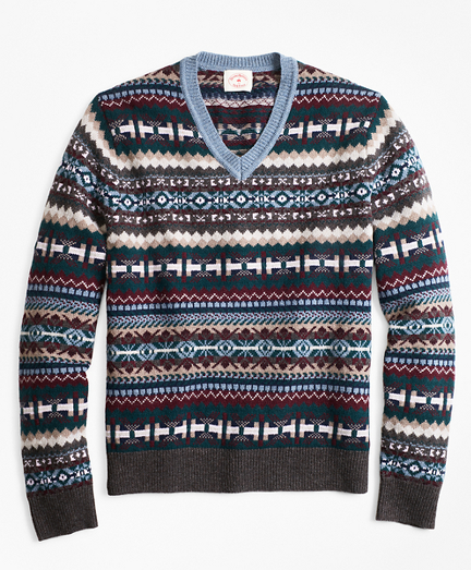 1920s Mens Sweaters, Pullovers, Cardigans Fair Isle Wool-Blend V-Neck Sweater $73.87 AT vintagedancer.com