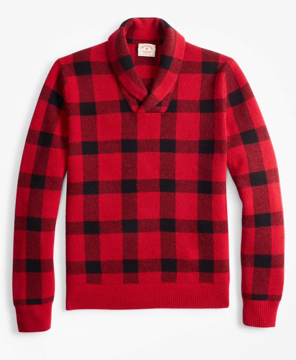 1960s Men's Clothing, 70s Men's Fashion Brooks Brothers Mens Merino Wool-Blend Buffalo Plaid Shawl-Collar Sweater $108.00 AT vintagedancer.com