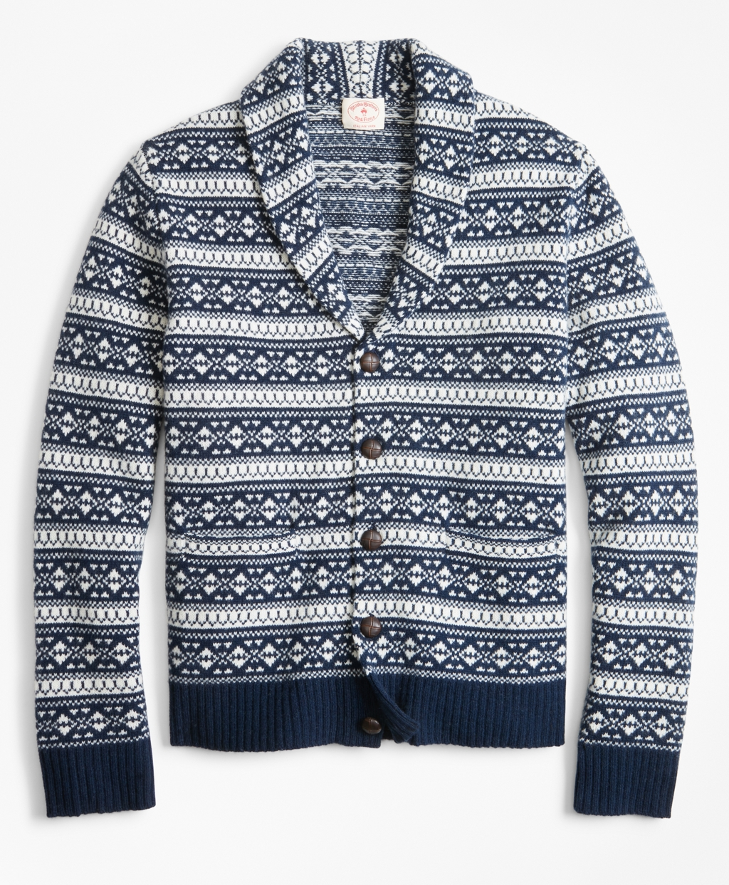 Men's Vintage Sweaters – 1920s to 1960s Retro Jumpers Brooks Brothers Mens Fair Isle Wool-Blend Shawl-Collar Cardigan $128.00 AT vintagedancer.com