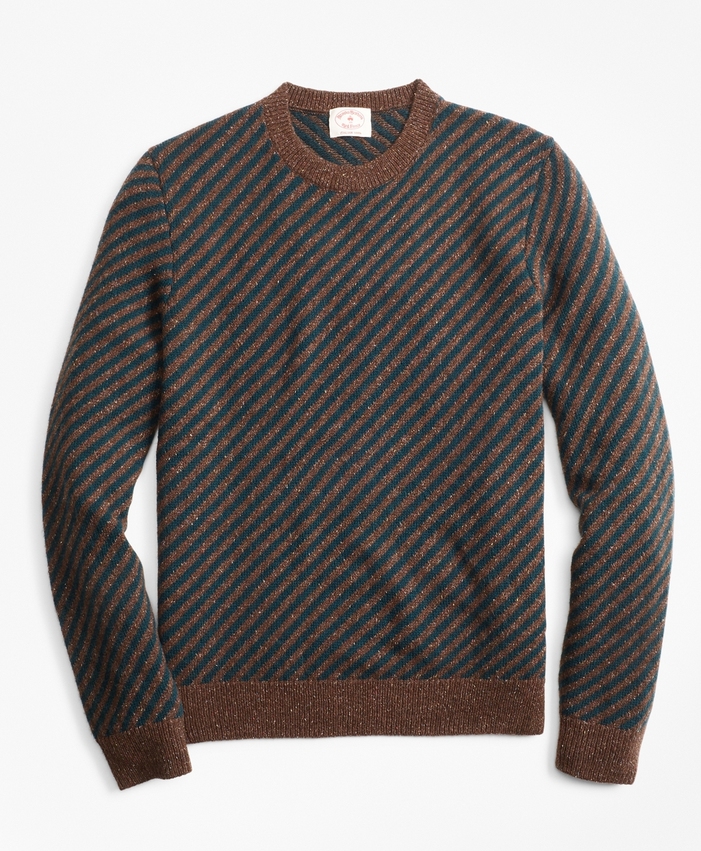 1960s Men's Clothing, 70s Men's Fashion Brooks Brothers Mens Diagonal-Stripe Alpaca-Blend Crewneck Sweater $89.50 AT vintagedancer.com