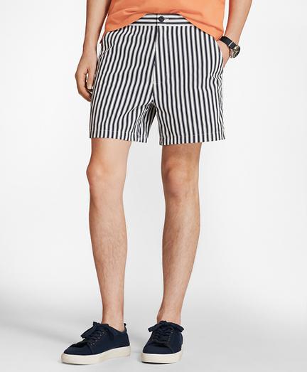 Vintage Men's Swimsuits – 1930s to 1970s Retro-Fit 4Â Striped Swim Trunks $29.00 AT vintagedancer.com