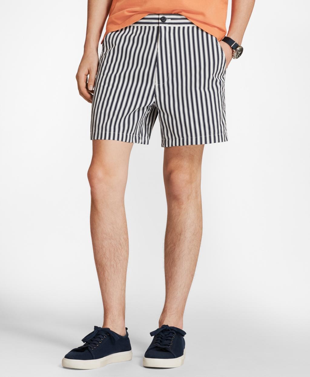 Vintage Men's Swimsuits – 1930s to 1970s History Brooks Brothers Mens Retro-Fit 4 Striped Swim Trunks $59.50 AT vintagedancer.com