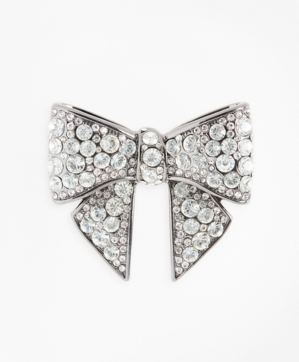 1930s Jewelry | Art Deco Style Jewelry Rhinestone-Encrusted Bow Brooch $38.00 AT vintagedancer.com