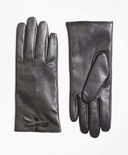 Vintage Style Gloves- Long, Wrist, Evening, Day, Leather, Lace Bow-Trimmed Leather Gloves $58.00 AT vintagedancer.com