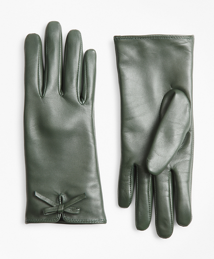 Vintage Style Gloves- Long, Wrist, Evening, Day, Leather, Lace Bow-Trimmed Leather Gloves $58.00 AT vintagedancer.com