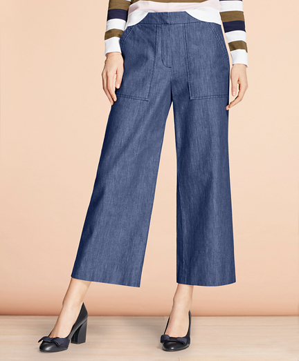 1950s Pants & Jeans- High Waist, Wide Leg, Capri, Pedal Pushers Denim Culottes $59.00 AT vintagedancer.com