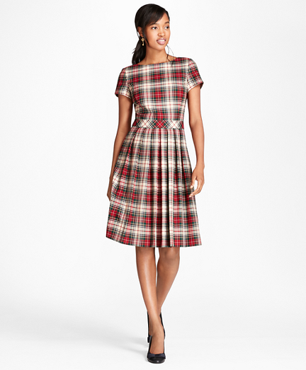 Vintage Christmas Dress | Party Dresses | Night Out Outfits Pleated Tartan Wool Twill Dress $99.00 AT vintagedancer.com