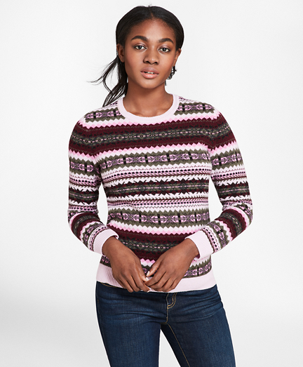 1930s Style Sweaters | Vintage Sweaters Stretch-Merino Wool Fair Isle Sweater $58.50 AT vintagedancer.com