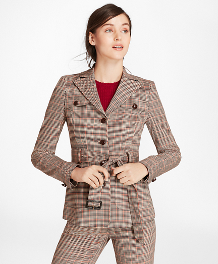 1960s Coats and Jackets Houndstooth-Checked Stretch-Wool Belted Jacket $249.00 AT vintagedancer.com