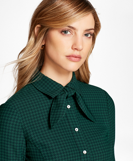1950s Rockabilly & Pin Up Tops, Blouses, Shirts Houndstooth Crepe Blouse $99.00 AT vintagedancer.com