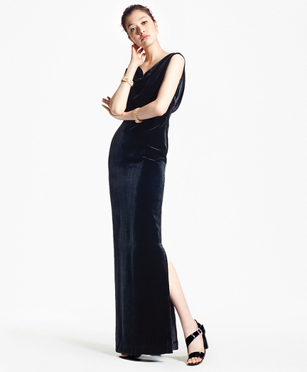1930s Dresses | 30s Art Deco Dress Sleeveless Silk-Blend and Velvet Evening Gown $498.00 AT vintagedancer.com