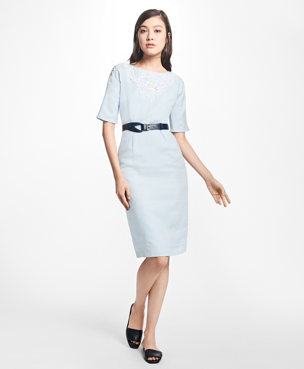 500 Vintage Style Dresses for Sale Brooks Brothers Womens Cord-Embroidered Linen Sheath Dress $89.40 AT vintagedancer.com