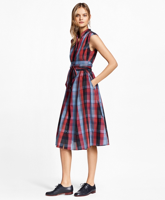 Finest Plaid Cotton Shirtdress - Brooks Brothers YO38