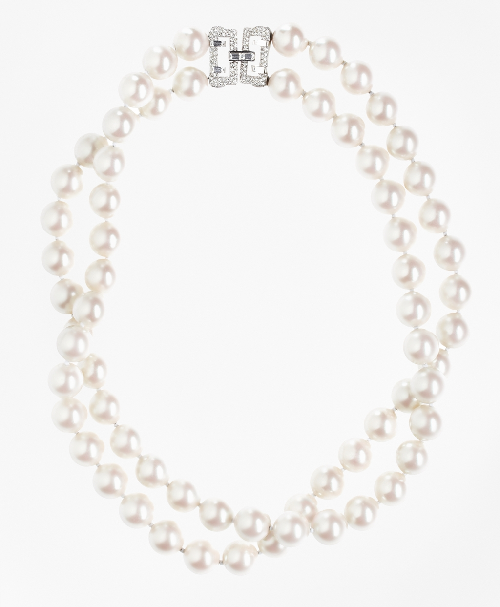 1930s Jewelry | Art Deco Style Jewelry Brooks Brothers Womens Double-Strand Glass Pearl Necklace $398.00 AT vintagedancer.com