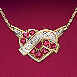 Lover's Heart Knot Ruby and Diamond Necklace