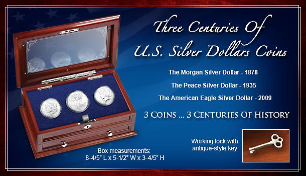 Three Centuries Of U.S. Silver Dollars Coins - Collectible Silver Dollar Coin Set with Wood Display Case! Includes 1878 Morgan, 1935 Peace and 2009 American Eagle Coins!