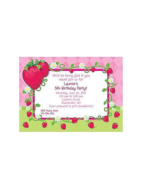 strawberry shortcake personalized invitations