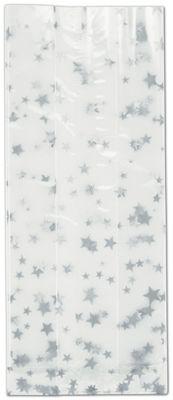 Silver Stars Cello Bags, 4 x 2 1/2 x 9 1/2'