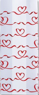 Red Satin Hearts Cello Bags, 4 x 2 1/2 x 9 1/2'