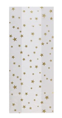 Gold Stars Cello Bags, 5 x 3 x 11 1/2'