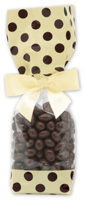 Brown & Cream Cello Bags, 2 x 1 7/8 x 9 1/2'