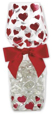 Hearts Cello Bags, 2 5/8 x 1 7/8 x 10 3/4'