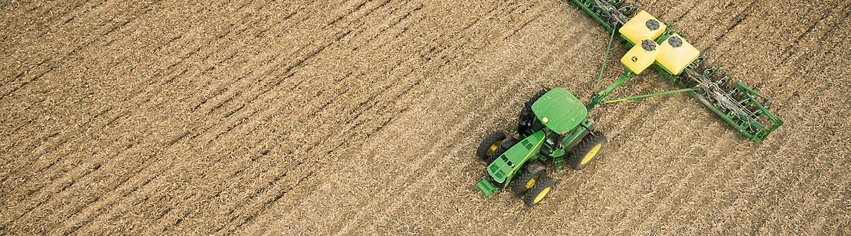 Corn planting in field