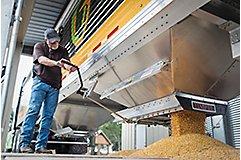 Qrome truck unloading corn seed