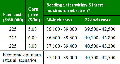Economic optimum corn seeding rates by row width